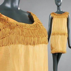 S/M Vintage 60s Mini GoGo Dress Fringe 20s Revival